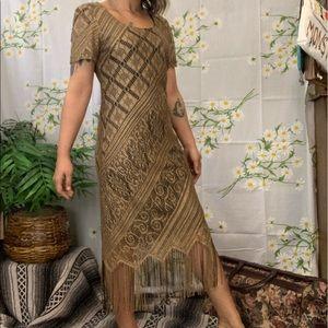Vintage gold lace fringe midi dress